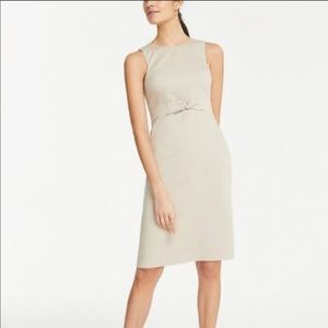Ann Taylor Cotton Sateen Knotted Sheath Dress